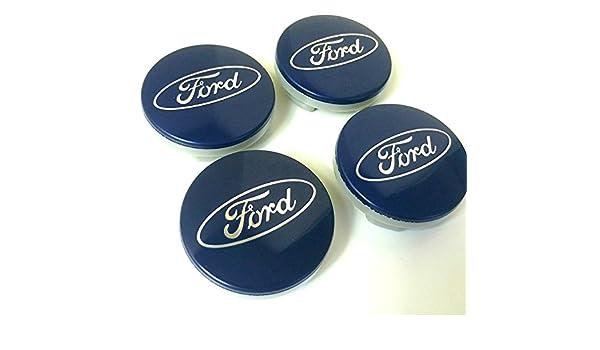 Juego de 4 tapas de Ford Llantas Mediados De Buje 54 mm protectora Blue Plata Logo Cilindro de nadadores KA Kuga Fusion Fiesta Focus Mondeo Galaxy C-Max ...