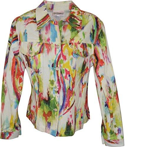 3 Sisters Jean Style Jacket Fitted Casual & Bold Designer Coat - Medium, Multicolor, Katmandu -