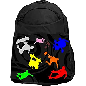 Rikki Knight UKBK Colored skateboarding on black Psychedelic Tech BackPack - Padded for Laptops & Tablets Ideal for School or College Bag BackPack