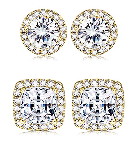 Thunaraz 1-2 Pairs Halo Stud Earrings 18K White Gold Plated Round Square Brillant Cut Earrings with Gift Box (D:1Pair Golden Tone)