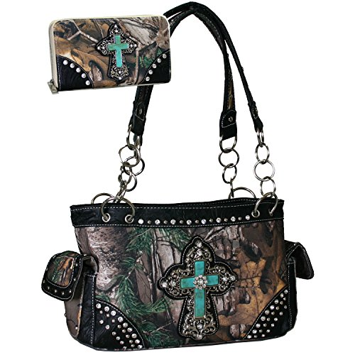 Western Rhinestone Bling Cross Concealed carry Gun Purse Wallet Set - Camo (Rhinestone Purse And Wallet Set)