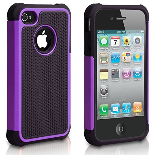 iPhone 4S Case, iPhone 4 Case, CHTech Fashion Shockproof Durable Hybrid Dual Layer Armor Defender Protective Case Cover for Apple iPhone 4S/4 (Purple) (Purple Otterbox Iphone 4)