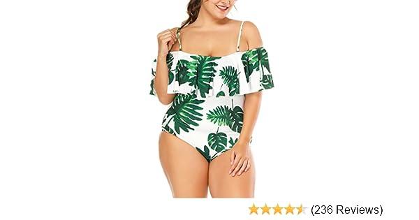 bfd7370b553 Wavely Women One Piece Plus Size Swimwear Ruffle Flounce Off Shoulder  Printed Monokini Swimsuits at Amazon Women s Clothing store