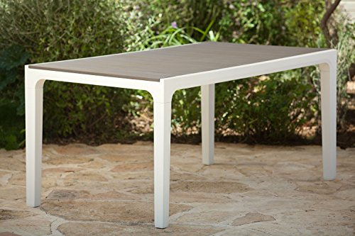 Keter Harmony Indoor/Outdoor Patio Dining Table with Modern Wood Style Finish, (Only Table Is Included) (Outdoor White Dining Chairs compare prices)