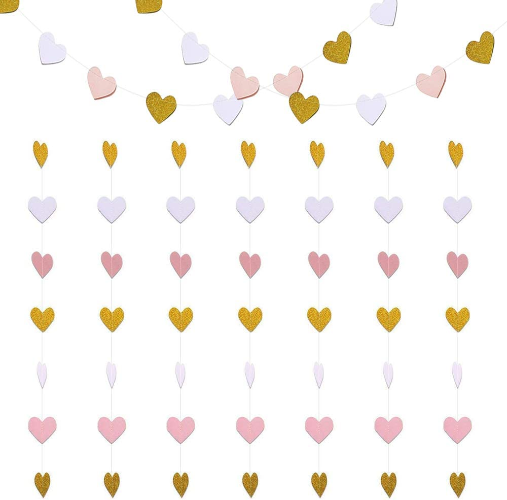 Paper Heart Garlands Heart Hanging Banner Bunting 2 Pack for Wedding Birthday Party Backdrop Decoration,10 Feet, Glitter Gold, White and Pink (Heart Hanging Banner-Pink White Gold)