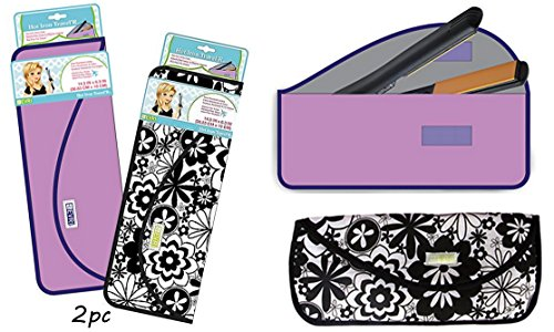 2pc Evriholder Case for Carrying Hair Styling tools Hot Iron Curling Iron & Flat Iron - Perfect for Travel & Gym - 1 Solid Color & 1 Print, As pictured