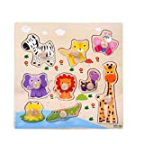 Winkey Toys for Age 1 2 3 4 5 6 Years Old Baby Boys Girls, 9 Piece Wooden Animal Puzzle Jigsaw Early Learning Baby Kids Educational Toys (Forest animals)