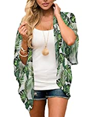 CHICGAL Women's Floral Print Short Sleeve Shawl Chiffon Kimono Cardigan Casual Blouse Tops