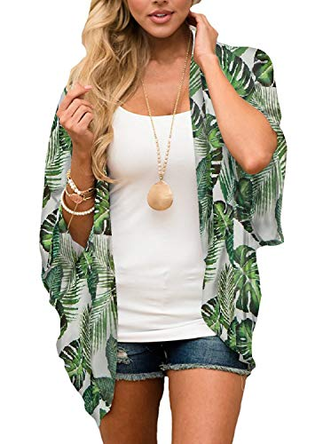 Chiffon Floral (Women's Floral Kimono Cardigan Summer Loose Shawl Chiffon Beach Blouse Cover up 3X-Large Light Green Leaf)