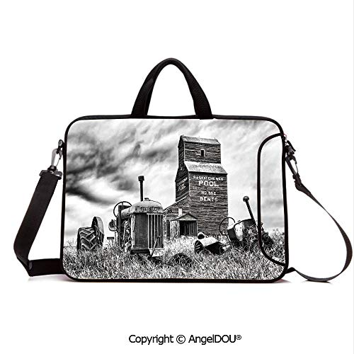 AngelDOU Notebook Bag for School Laptop Sleeve Messenger Bags Old 60s Abandoned Tractor in The Farm in Central Canada Nostalgic Machinery Elem PC Cover case Compatible with mac pro/asus/acer/hp/xia ()