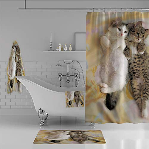 iPrint Bathroom 4 Piece Set Shower Curtain Floor mat Bath Towel 3D Print,Sleepy Heads Cat Pet Animal Lovers Best Friends,Fashion Personality Customization adds Color to Your Bathroom. by iPrint
