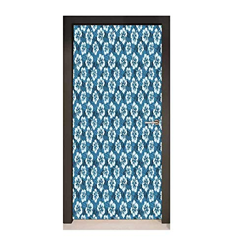 Homesonne Blue 3D Door Wallpaper Pattern of Hawaiian Hibiscus Flowers and Leaves Exotic Hawaii Island Nature for Office Decoration Petrol Blue Pale Blue,W23xH70