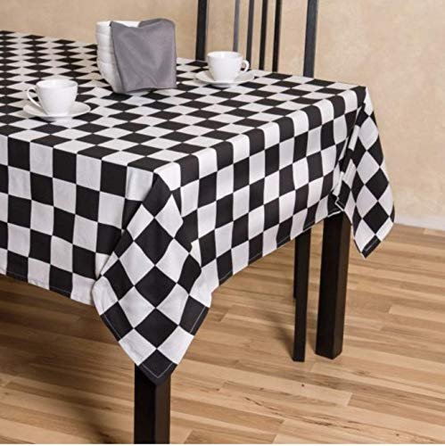 Dress Cotton Checker - TC Tanu Collections Rectangle Tablecloth - 100% Cotton - Great for Buffet Table, Parties, Holiday Dinner, Wedding (Check Checker Board Flag Black & White, 60