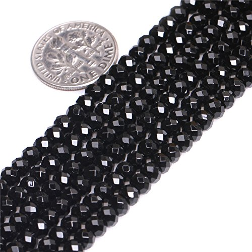 Natural Rondelle Faceted Black Agate AA Grade Gemstone Loose Beads In Bulk For Jewelry Making Wholesale One Strand 15