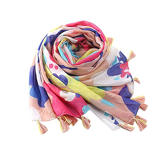 URIBAKE ❤ Women's Ladies Scarves Tassel Print Pattern Lace Long Soft Scarf Warm Wrap Shawl Multicolor ()