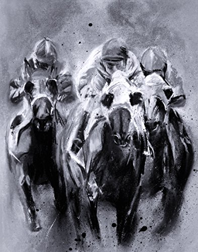 RACING TRIO IN BLACK AND WHITE- Contemporary Race Horse Fine Art Print 11 x 14 Inch from Original Pastel ()