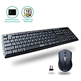 UHURU Compact Slim 2.4GHz Wireless Keyboard and Mouse Combo with Full Size Keyboard for Windows 10 / 8 / 7 / Vista / XP, Notebook, Laptop, Smart TV (104 key keyboard)