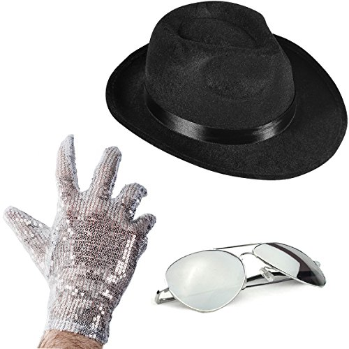 Funny Party Hats Set of 3 - Fedora Hat Sequin Glove and Sunglasses by -