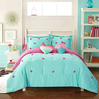 8 piece girls hippie comforter twin set multi floral bohemian bedding teal blue. Black Bedroom Furniture Sets. Home Design Ideas