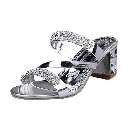 POHOK Women Rhinestone Slippers Women Fashion Open Toe Shoes Bohemia Heels(37,Silver) ()