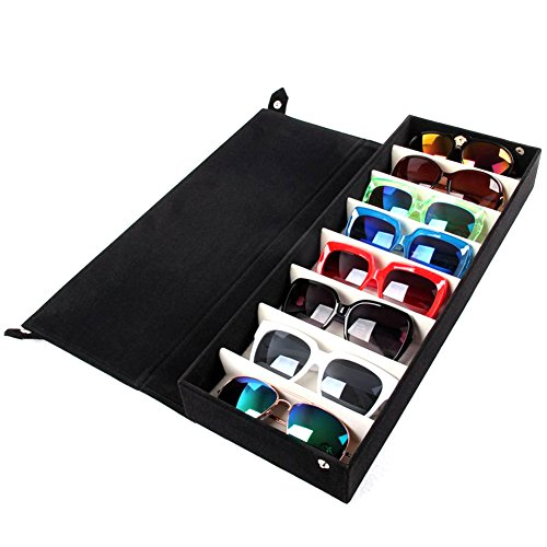 8 Slot Grid Eyewear Stand Holder Sunglasses Glasses Storage Display Case Stand Holder Jewelry Tray Case Box Organizer - Decent Sunglasses