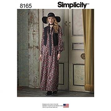 Simplicity Damen Schnittmuster 8165 TV Maxi Kleid mit gefüttert ...
