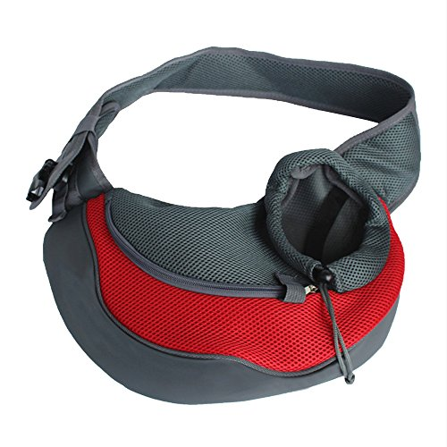 Spring fever Outdoor Pet Sling Carrier Adjustable Comfortable Hands-free Shoulder Bag for Dog Cat Red L