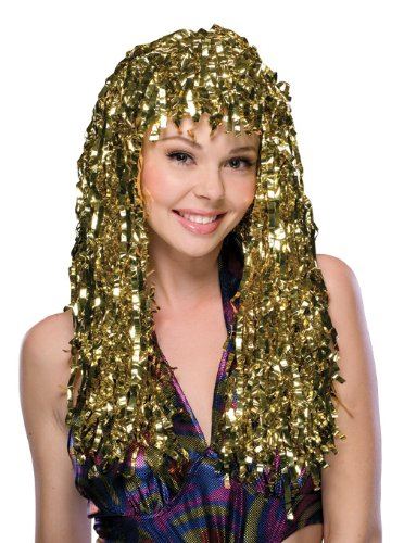 Gold Wig (Rubie's Costume Golden Tinsel Wig, Gold, One Size)