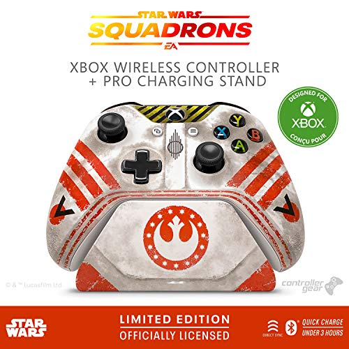 CONTROLLER GEAR STAR WARS: SQUADRONS, WIRELESS CONTROLLER AND PRO CHARGING STAND BUNDLE FOR XBOX, LIMITED EDITION, OFFICIALLY LICENSED BY DISNEY, LUCASFILMS LTD, MICROSOFT XBOX – XBOX ONE (ELDSXBWCR-0MNWR)