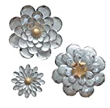 GIFTME 5 Galvanized Flowers Wall Décor Set of 3 Metal Flower Wall Art-by