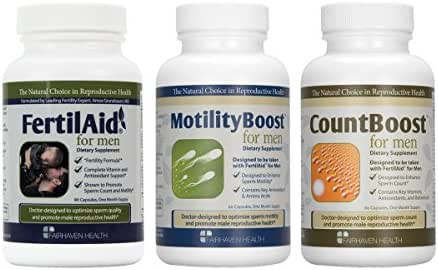 FertilAid for Men, MotilityBoost, Countboost Bundle (1 Month Supply)