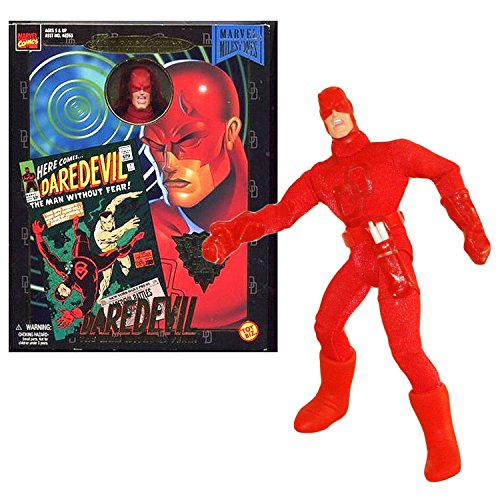 ToyBiz Year 1998 Marvel Comics Famous Cover Series 8 Inch Tall Ultra Poseable Action Figure - The Man Without Fear DAREDEVIL with Authentic Fabric Costume and White Billy Stick -