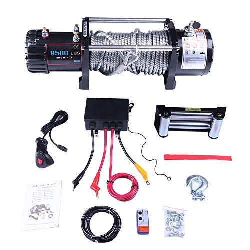 ECCPP Winches, 12V 9500 LBS Electric Winch+Control Box Assembly+4 Way Roller Fairlead+Wireless/Hand Remote Control+80 feet Steel Cable+Negative Wire+Hook for UTV/ATV/Off Road