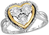 Womens Two Tone Finish Heart Love Fanook Real Diamond Fashion Ring 1/10 CT (I2 clarity; G-H color)
