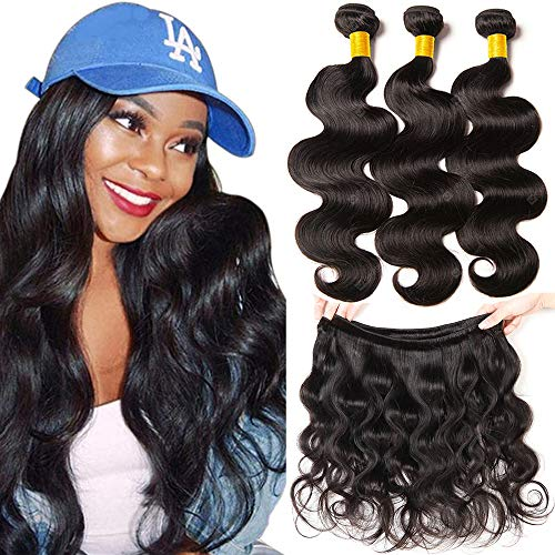 YOUFA Body Wave Bundles Weave Hair 100% Unprocessed Virgin Brazilian Human Hair 3 Bundles 14 16 18 Inch Remy Hair Extensions Natural Color