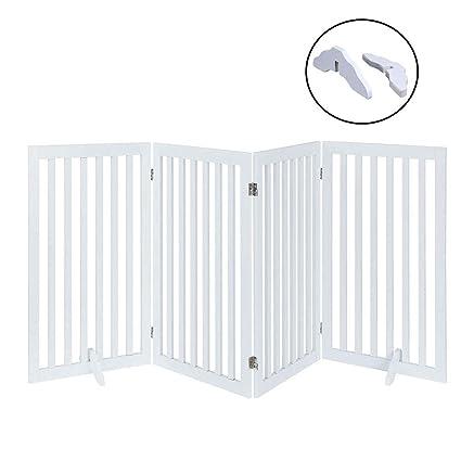 Amazon Com Unipaws Dog Gate Freestanding Wooden Pet Gate Foldable