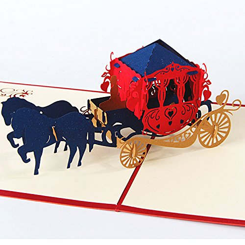 Jerry & Maggie - Pop Up Greeting Card - Princess Carriage with Horse 3D Paper Greeting Thank You Card Handmade Halloween Christmas Thanksgiving Lacework Marriage Wedding Theme | Red for $<!--$8.68-->
