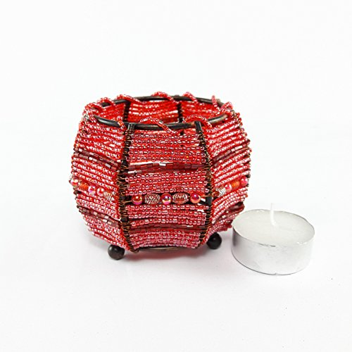 Red Bead Votive Bowl Candle Holder Cover Bead Sequin Light Table Home Decorative Accessories