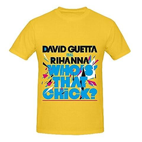 David Guetta Who's That Chick Mens O Neck Custom T Shirt Yellow - Evergreen Golf Umbrella