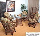 Walnut Chiba Rattan Caster Chairs and Table 5 Piece Dining Set (Choice of Fabrics) (Bahamian Cinnamon)