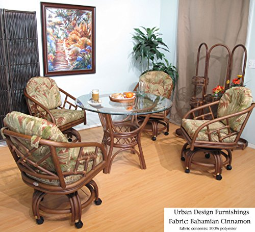 Walnut Chiba Rattan Caster Chairs and Table 5 Piece Dining Set (Choice of Fabrics) (Bahamian Cinnamon) by Urban Design Furnishings
