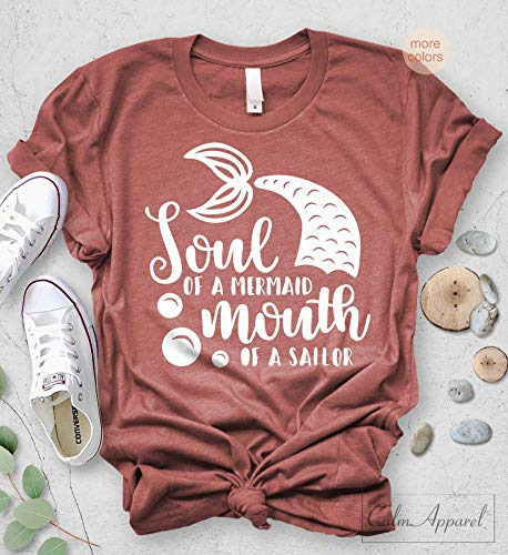(Soul of a Mermaid Mouth of a Sailor T Shirt Women Ocean Tee Sailor Graphic Tee for Her)