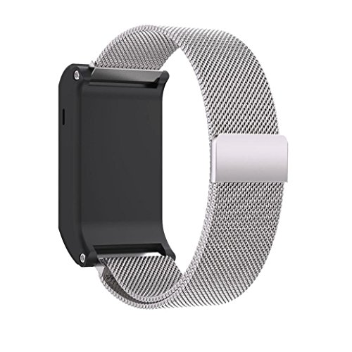 Price comparison product image Bands for Garmin Vivoactive HR,Promisen New Fashion Milanese Magnetic Loop Stainless Steel Replacement Wrist Strap Sports Bracelet Accessories (Silver)