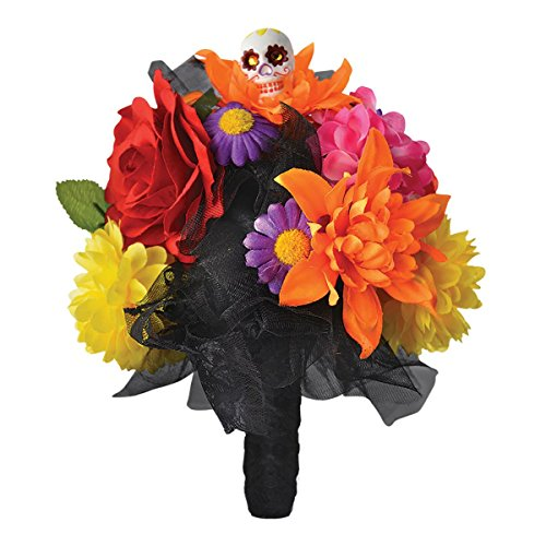 Amscan 843932 Day of The Dead Skull Flower Bouquet, Black, Standard]()