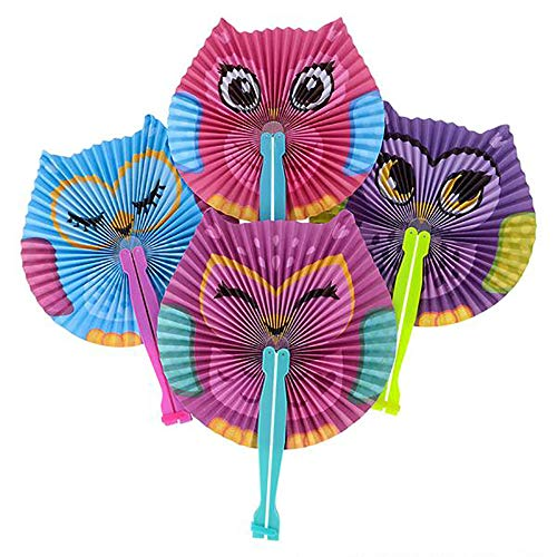 Kicko 10 Inch Folding Owl Paper Fan - 12 Pieces of Accordion Style Assortment - Perfect for Halloween, Festivals, Birthday, School Events, Novelties, Party Favor and Supply -