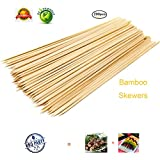 """ZMLin Bamboo Skewers sticks, Premium Natural BBQ Skewers Kabobs Fruit Skewer Sticks Marshmallow Roasting Sticks Perfect for Party Weddings BBQ Outdoor Indoor Grill - 12"""" 200pcs"""