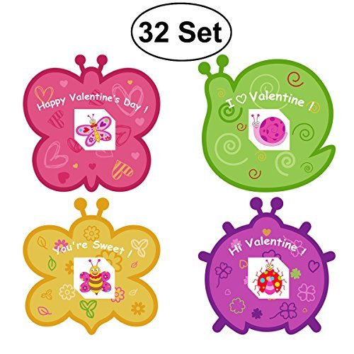 Kids valentine cards amazon valentine cards for kids including 28 set cards tattoos butterfly bee snail ladybug and envelope for school classmates m4hsunfo