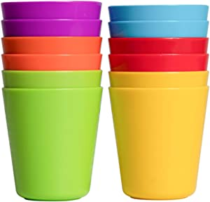 Klickpick Home Kids colorful Plastic cups Reusable Dishwasher Microwave Safe- set of 6 colors (12 PCS SET)