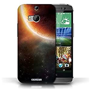 KOBALT? Protective Hard Back Phone Case / Cover for HTC One/1 M8 | Orange Eclipse Design | Space/Cosmos Collection
