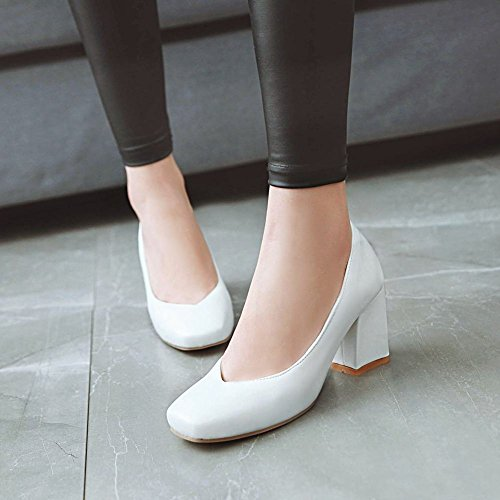 Mee Shoes Damen Chunky Heels Vierkant Lackleder Pumps Weiß